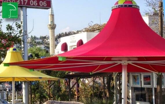200x8 Kırmızı/beyaz Plaj şemsiyesi